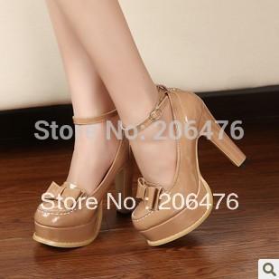 Free shipping sweet Vivi magazine hot all match fashion high heeled platform thick heel platform bow