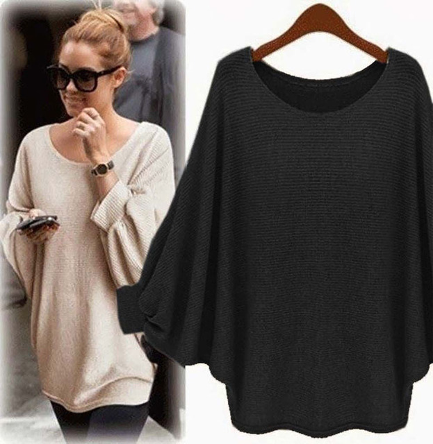 2018 New sweater Women candy color Oversized Batwing Knitted Pullover Loose Sweater Knitted Tops high quality clothing 4