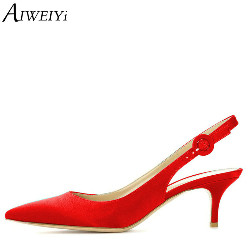 AIWEIYi Women High Heels Satin Pointed Toe Slingback