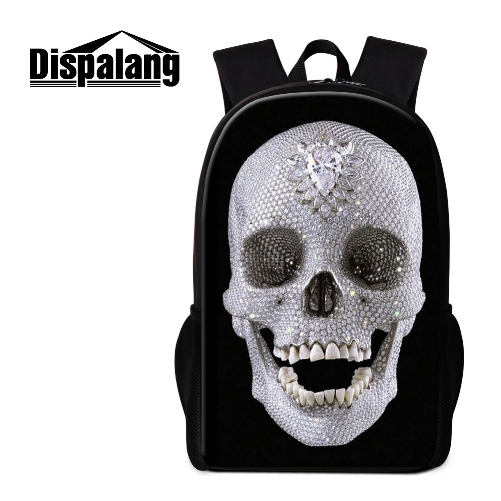 Dispalang Black Backpack White Skull Pattern for Teenagers Cool School Bags for Boys Mochilas Rucksack 3D Printed Bookbags Pack