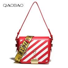 QIAOBAO Gestreifte Kleine Klappe Schulter Crossbody Taschen Designer Marke Damen Kupplung Handtaschen Hohe Qualität Kuh Leder Frauen Tasche