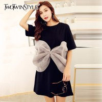 TWOTWINSTYLE Bow T Shirt For Women O Neck Short Sleeve Mesh Patchwork Big Size Midi T