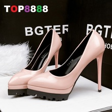 Best Selling Size 34-39 6 Colours Super High Heel Pumps Heel 12cm Platform 3.5cm PU Leather Shoes Sexy Woman Shoes ML3337