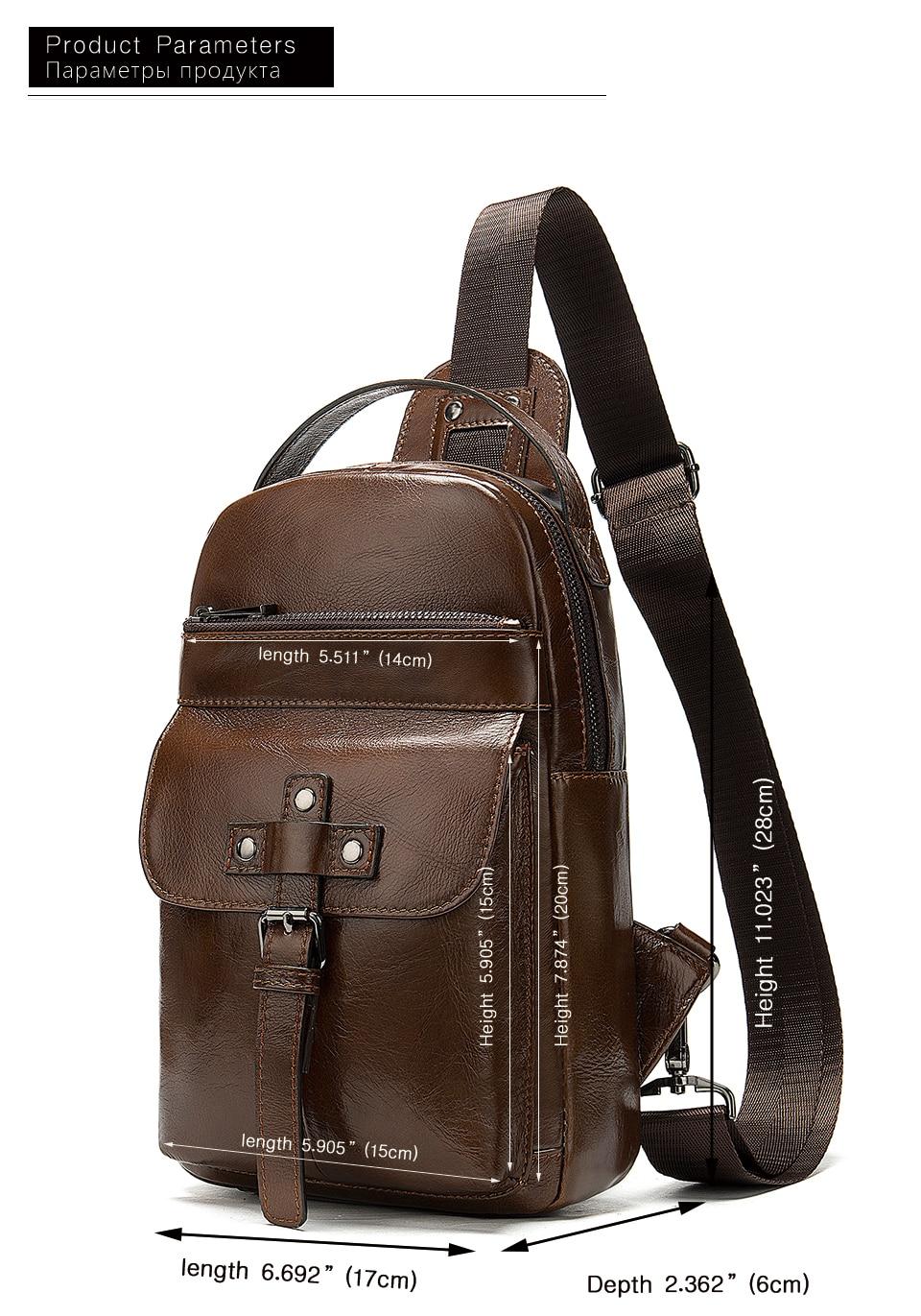 4 Men's Bag Leather Sling Bag Caual Men's Shoulder Bag Vintage Crossbody Bags for Men with Headphone Hole Travel Chest Pack