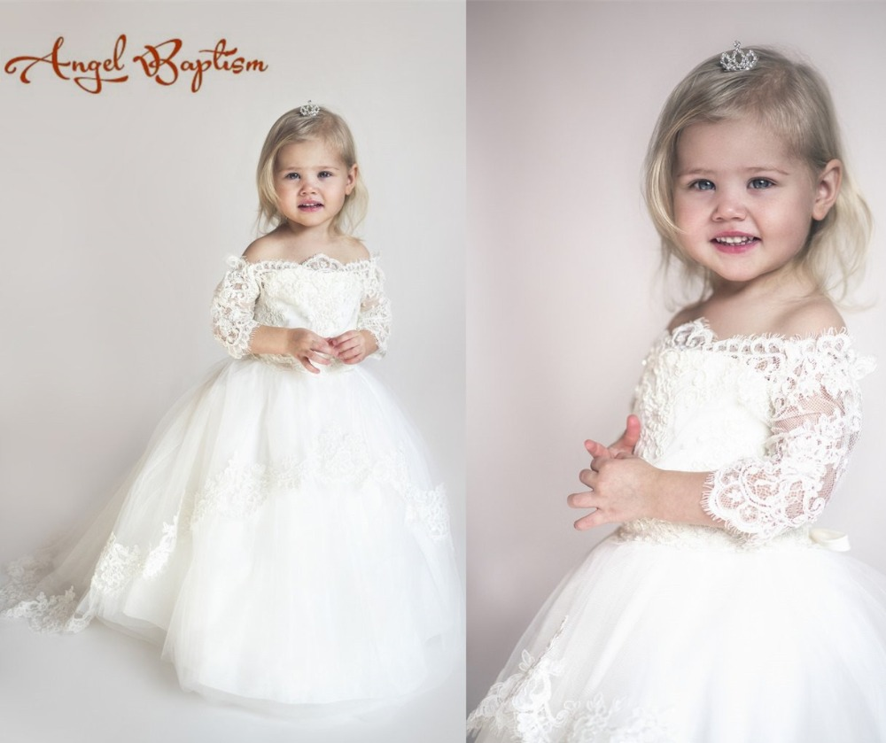 Adorable off the shoulder lace newborn white/ivory christening dresses ball gown baptism first communion dresses with sleeves white lace details off shoulder bell sleeves crop top