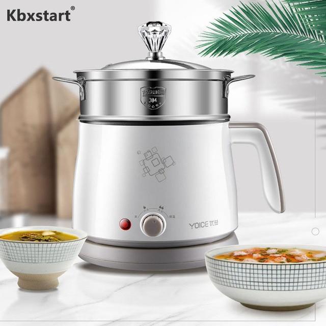 Kbxstart 1.5L Multifunction Electric Cooking Pot Heating Pan Noodles Rice Cooker Hot Pot Food Multi Cooker Machine Steamer 220V 1