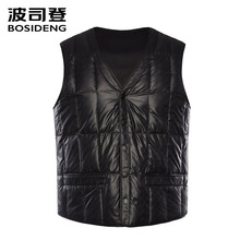 BOSIDENG new down vest for men down waistcoat snap fastener pockets high quality Rectangle plus size B80130003