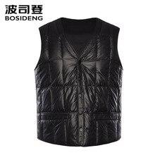 Bosideng新男性用ダウンベストダウンチョッキスナップファスナーポケット高品質長方形プラスサイズB80130003