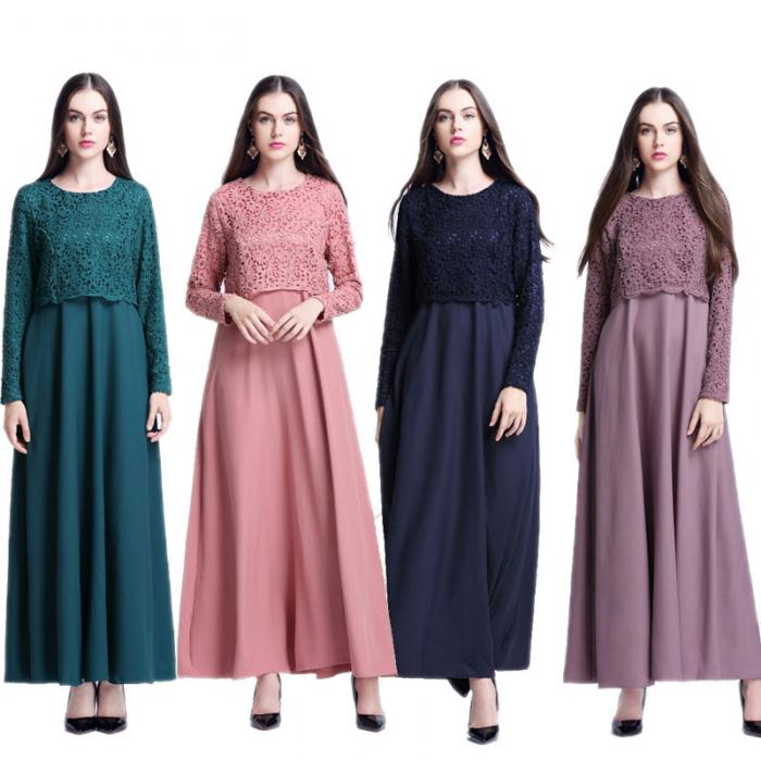 New Muslim Women Long Sleeve Maxi Dress Clothing Robe Moroccan Fashion Lace False Two Piece Dresses Fs99