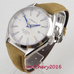 Image 2 - 41 ミリメートル corgeut ホワイトダイヤルステンレススチールケースサファイアガラスブルー手御代田自動移動メンズ腕時計
