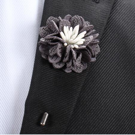 20 pcs/lot , Wedding Boutonniere Fabric Flower Lapel Pin