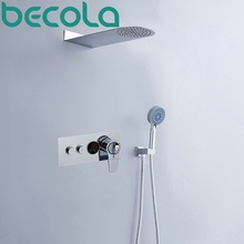 becola Thermostatic Shower set LED temperature digital display shower faucet Rainfall shower head system B-HW1001