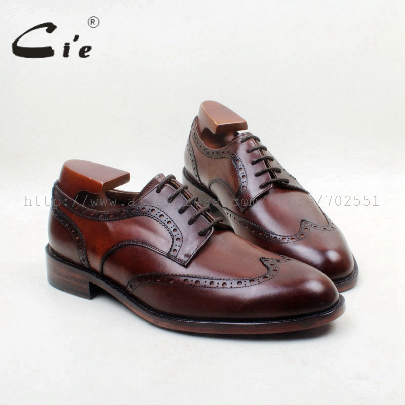 cie Free Shipping Bespoke Handmade Calf Leather W tips Lace up Derby font b Men b