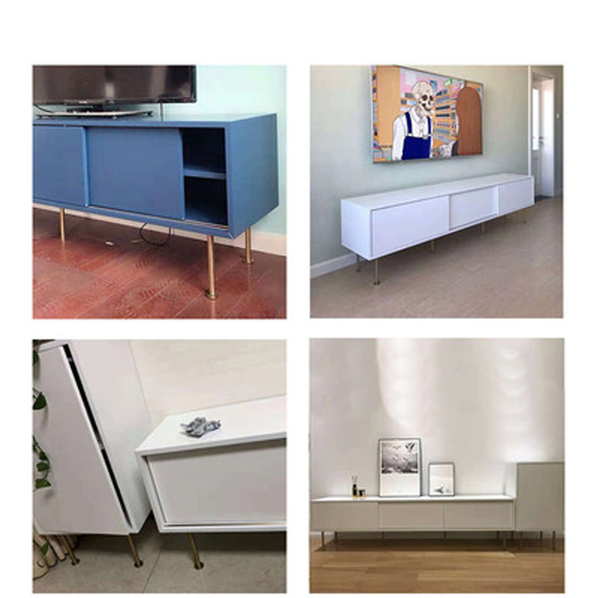 Image 4 - 4Pcs 60*160mm 60*210mm Gold bronze Furniture Cabinet Cupboard Adjustable Metal Legs Table feet   Verified Lab Test Supports-in Furniture Legs from Furniture