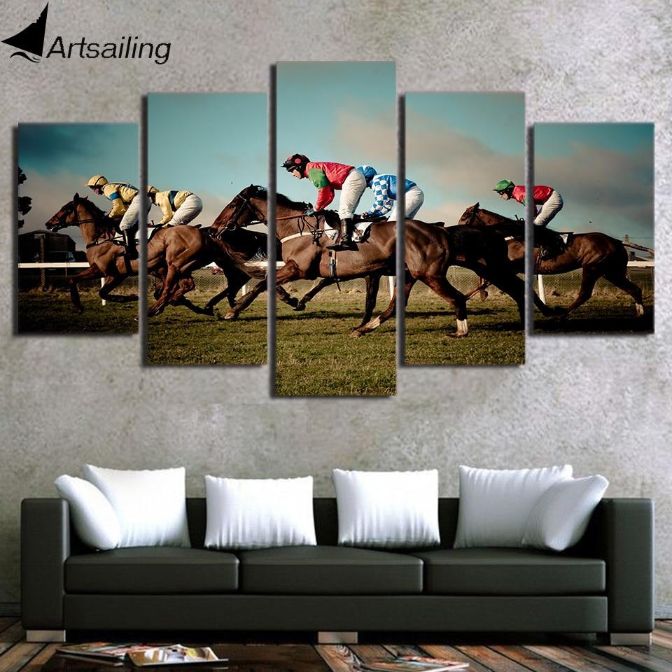 5 Piece Canvas Art Horse Racing