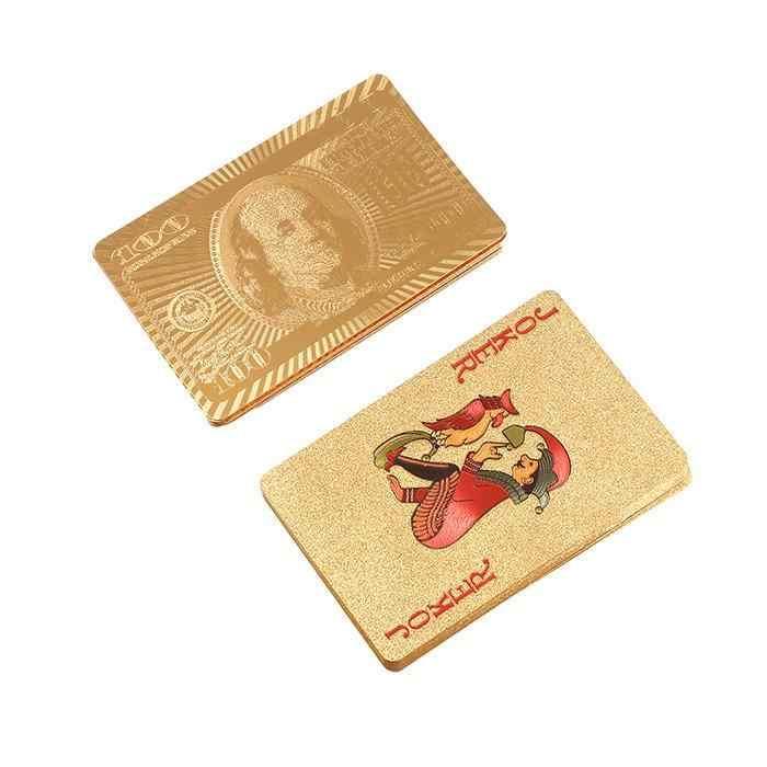 Золотые игральные карты игра Роскошная золотая фольга покерный набор сетка пластиковая фольга покер прочные водостойкие карты доллар Подарочная коллекция
