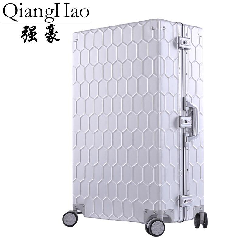 100 Aluminum Alloy Business Travel Malas de viagem com rodinhas TSA Lock Cabin Trolley Suitcase Carry