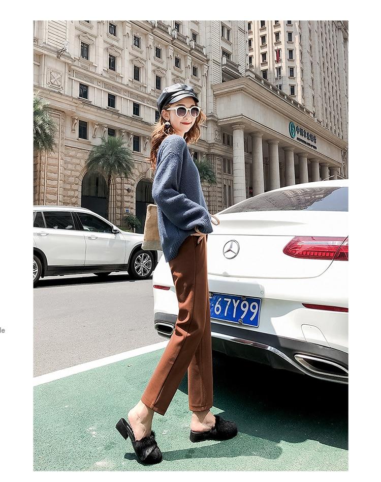 19 Autumn New Women Elastic Woolen Pant Female Plus Size Casual Trousers Black/Gray Harem Pants Winter Wool Ankle-Length Pants 26