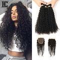 7A Malaysian Curly Hair With Closure 4 bundles Afro Kinky Curly Hair Bundles With Closures Cheap Malaysian Virgin Human Hair HC