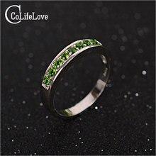 Чистый 925 Чистого Серебра 100% природный chrome Diopsid Кольцо серебро 925 мода Diopsid кольцо для женщины день святого валентина подарок