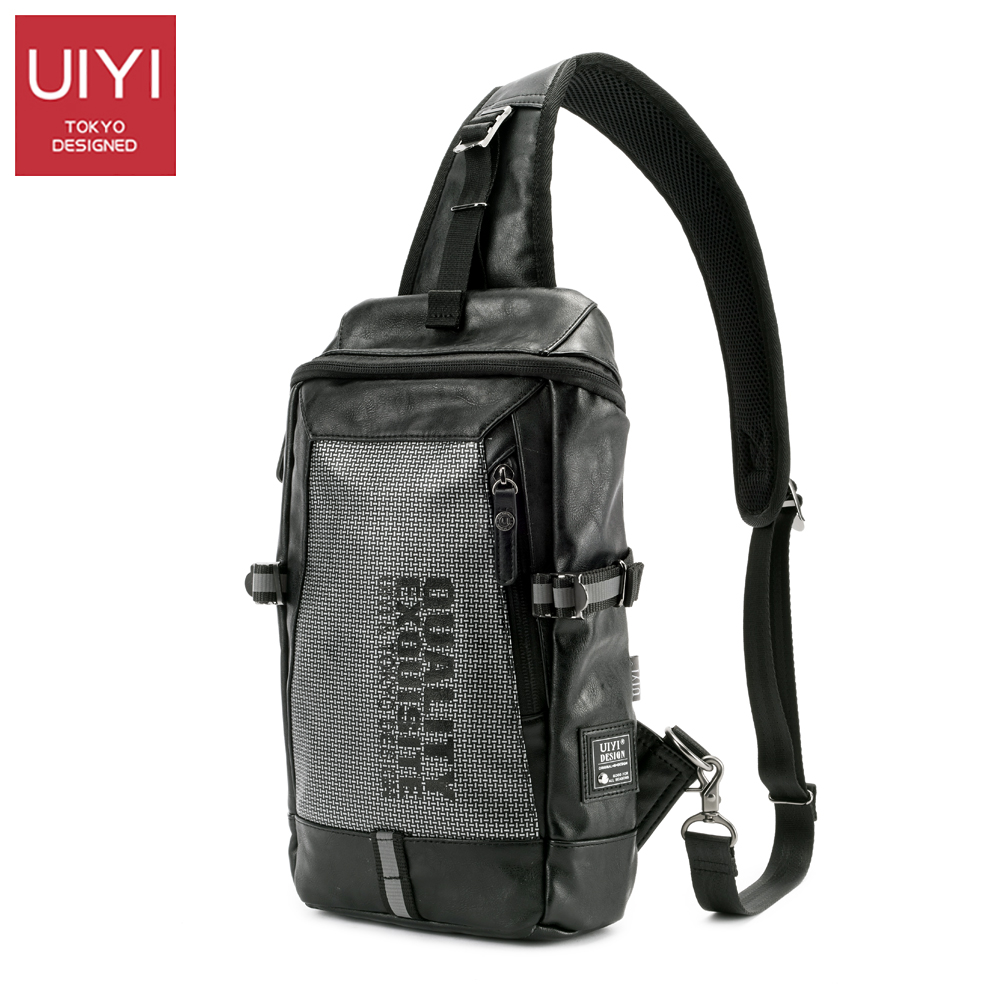 UIYI Black Chest shoulder bag Men's Casual Chest Pack shoulder strap Male pack bag for IPAD Crossbody Bags 2017 New #UYX7023 uiyi male pvc casual shoulder bag black chest bag for men shoulder