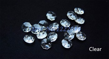 Wholsale 2000Pcs/lot TOP Quality 14MM Clear Crystal Octagon loose Beads With 2 Holes