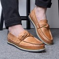 Modern Italian Summer Style Asakuchi Slip Western Solid Color Mark Thread Casual Shoes Men Full Grain Leather Men White Loafers