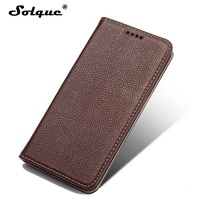 Solque Real Genuine Leather Case For Samsung Galaxy S6 Edge S 6 S6Edge Luxury Magnet Card Stand Flip Cover Mobile Phone Cases