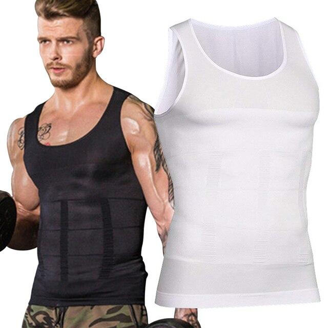 De hombres adelgazar Shapewear cuerpo corsé chaleco camiseta de compresión de Abdomen vientre Control Slim ropa interior de cintura faja camisas