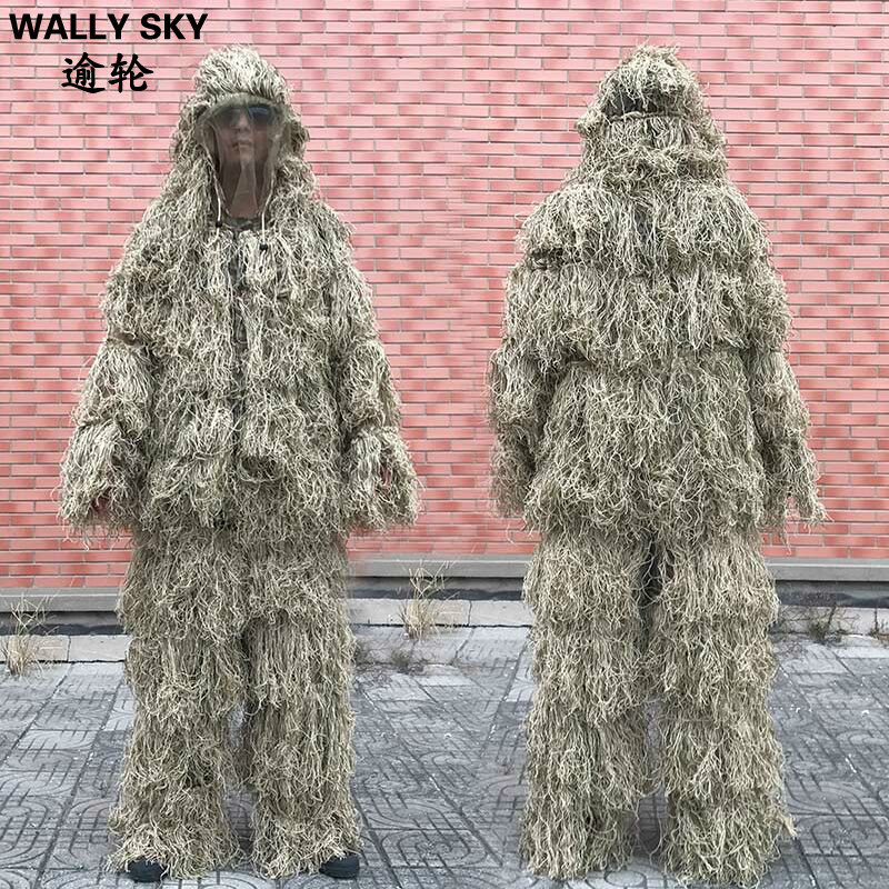 3D Withered Grass Ghillie Suit 4 PCS Sniper Military Tactical Camouflage Clothing Hunting Bird Watching Set military camouflage ghillie suit woodland grass hay style paintball leaf jungle sniper clothes hunting tactical shade clothing