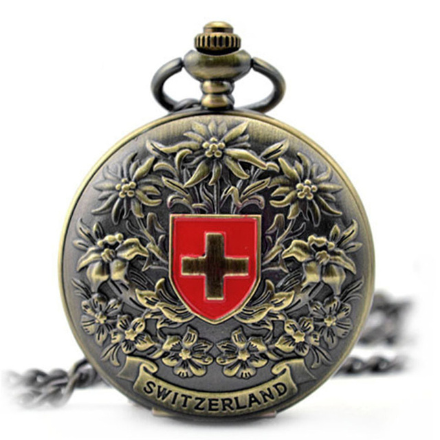 Fashion Clock Switzerland Red Cross Hollow Hand Wind Mechanical Pocket Watch Cla