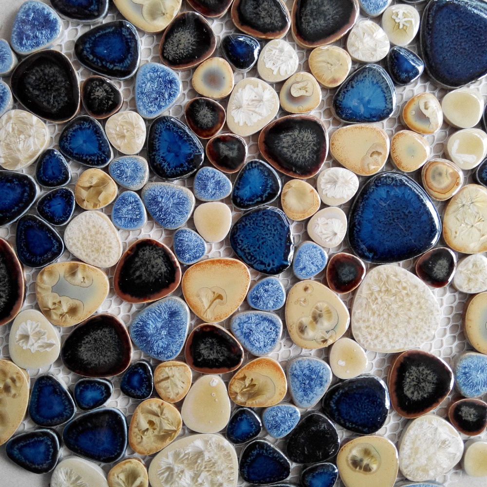 TST Porcelain Pebbles Art Fambe Mosaic Blue Glazed Ceramic Tiles ...