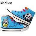 Sr. Niscar Mens Zapatos de Lona Clásicos de Los Hombres Zapatos Transpirables Zapatos de Moda Casual Hombres Totoro de Dibujos Animados Pintada Zapatos de Cordones hombres