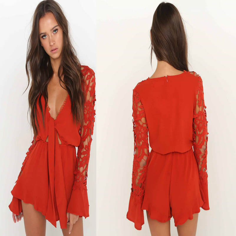 NiceMix 2019 Summer New Hot Shoulder Long Sleeved Jumpsuit Pants High Quality Siamese Lace Sexy Long Sleeved lotus side shorts in Rompers from Women 39 s Clothing