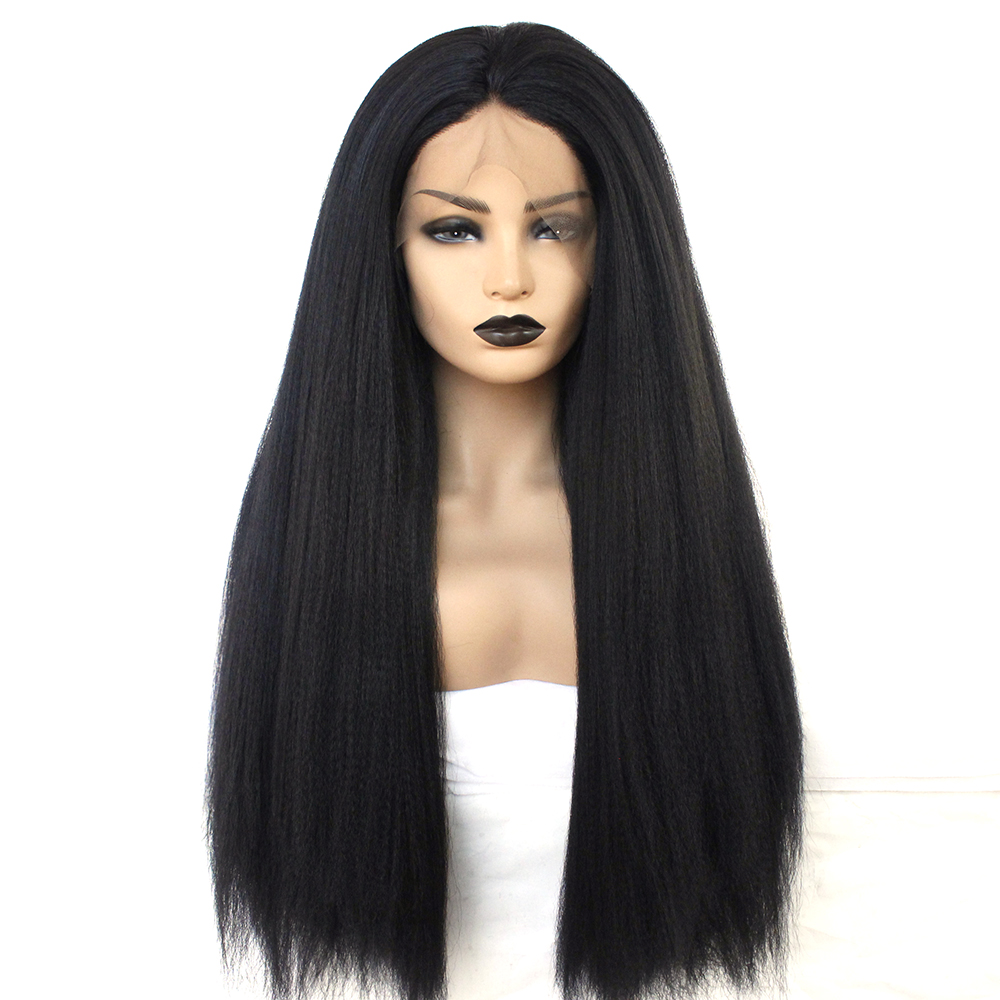 Synthetic Kinky Straight Wig Natural Hairline Black Color Heat Resistant Fiber Middle Part Lace Front Wig