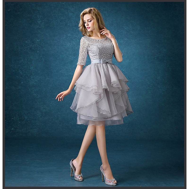 drnwof Half Sleeve Grey Bridesmaid Dresses 2017 New Free Shipping Party Prom Back Lace up women dress 3
