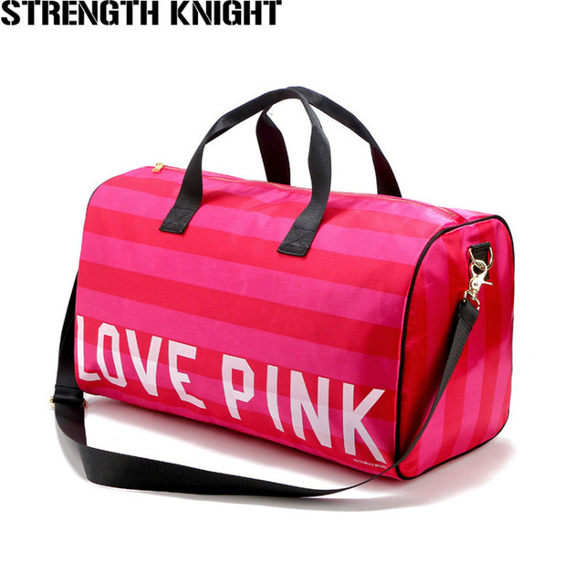 2018 Women Fashion Sexy Love Pink Handbags Barrel-Shaped Large Capacity  Travel Duffle Striped Waterproof Beach Bag Shoulder Bag 7b76b88071