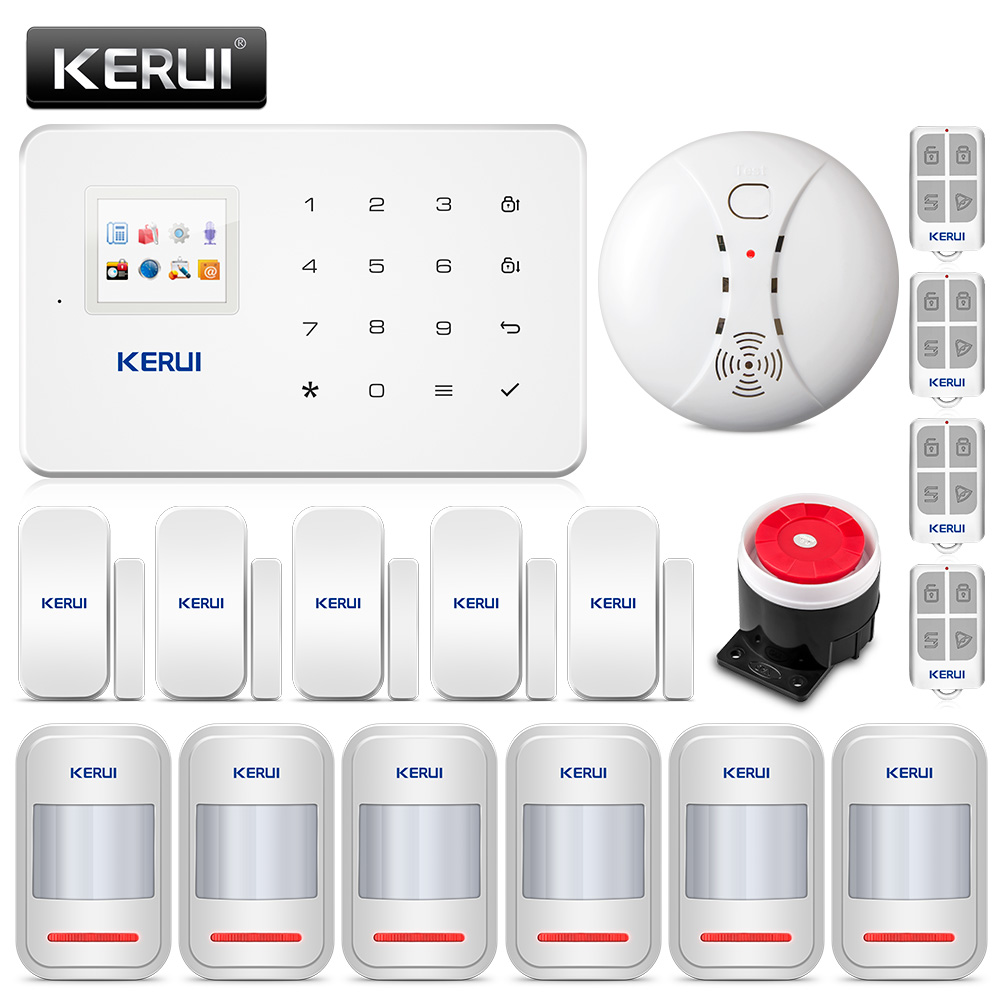 KERUI G18 Wireless GSM Burglar Home Security Alarm System House Protection Kit Phone APP Remote Control With Smoke Detector kerui wireless wired gsm voice burglar home house security alarm app control tft touch panel wireless smoke detector pir sensor
