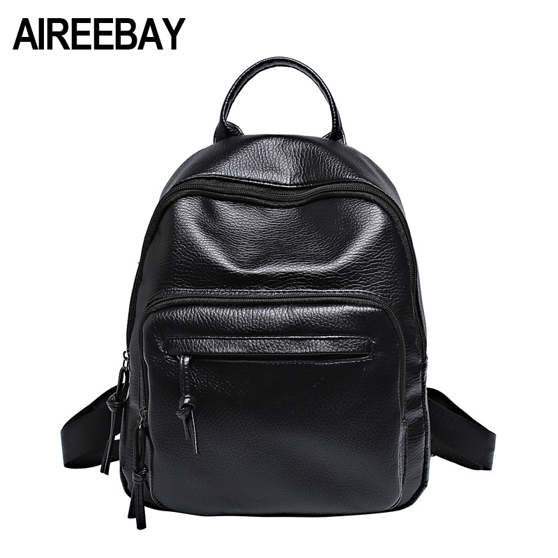 AIREEBAY PU Leather Women Backpacks School Bags For Teenagers Girls Brand New Preppy Style Rucksack Casual Students Travel Bags new design women bag denim backpack preppy style school backpacks for teenagers girls fashion casual travel bags rucksack a0284