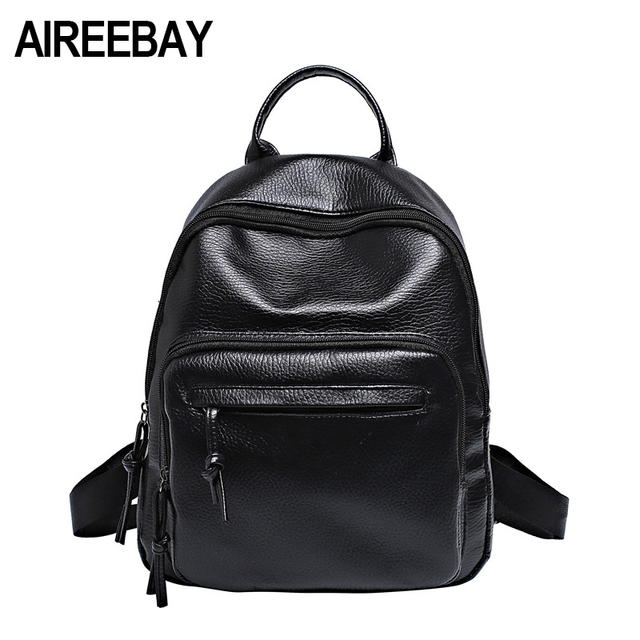 5013743473 AIREEBAY PU Leather Women Backpacks School Bags For Teenagers Girls Brand  New Preppy Style Rucksack Casual Students Travel Bags