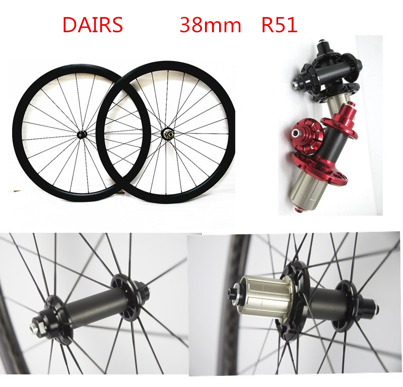 R51 Straight pull carbon wheels powerway 700C road 38mm clincher tubular wheels bikes road wheels 38mm bicycle wheelset sobato bikes wheel carbon road wheels bicycle chinese oem wheelset 38mm clincher or tubular powerway r13 hub