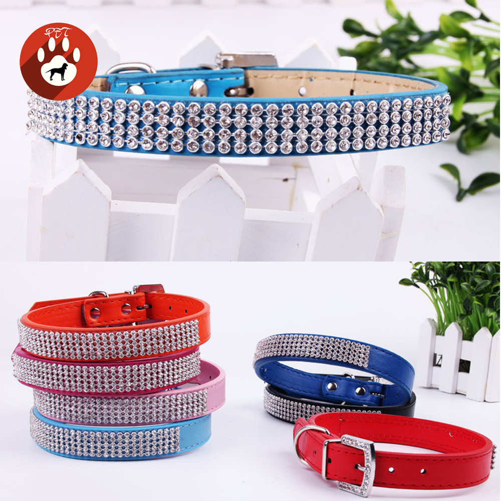 Bling Diamante Rhinestone PU Leather Cat Dog Collars for Small Medium Dogs Chihuahua Yorkie 6 Colors Size XS S M L