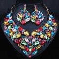 Nova Magnífica Multi Cor de Multi Cor colar de Cristal conjuntos De jóias de Noiva define conjuntos de jóias de casamento para a noiva acessórios