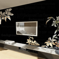 Creative Diagonal Elegant Plant Flower Large Wall Mirror Stickers Best DIY Decoration For TV Sofa Background
