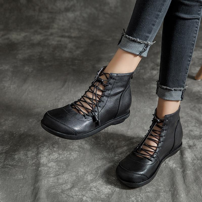 Wiosna moda damska sandały nowy styl retro skóra ręcznie robione buty wysokie, aby pomóc komfort na co dzień pojedyncze buty okrągłe głowy buty w Niskie obcasy od Buty na  Grupa 1