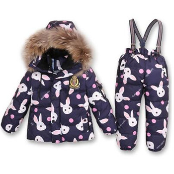 Children skiing Suits Kids Winter Outdoor Windproof Clothes Set Raccoon Thermal Thickening Snow Jacket Pants Boys Girls Snowsuit