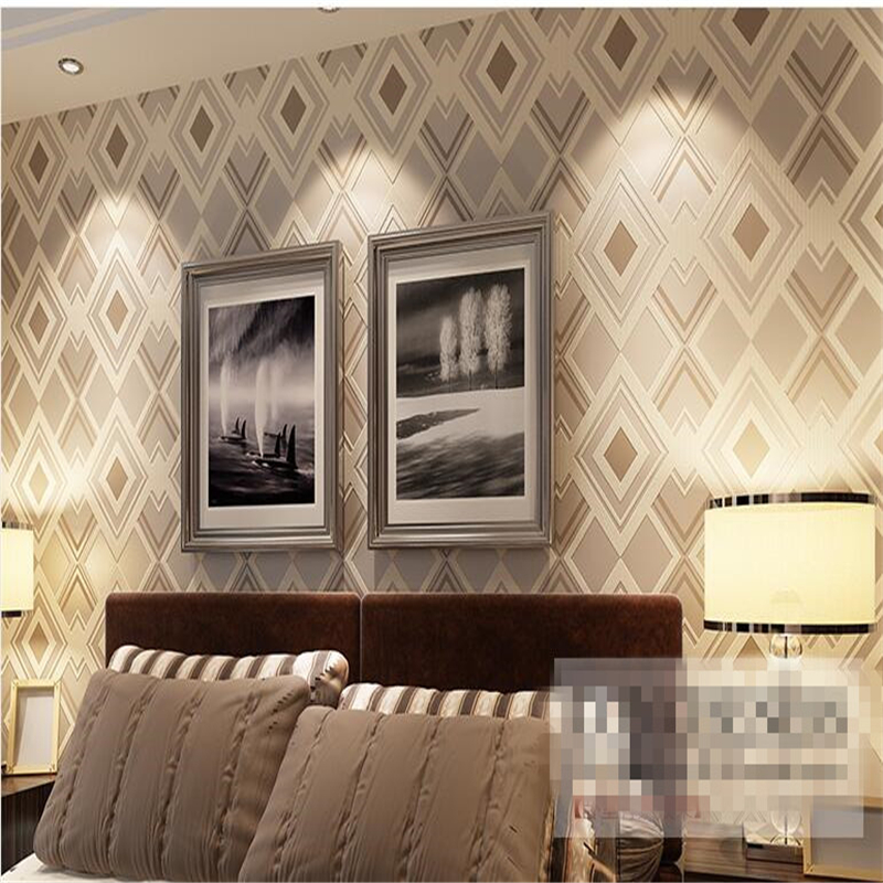 beibehang diamond-shaped non woven wallpaper abstract lattice living room sofa bedroom TV background wallpaper papel de parede beibehang american non woven wallpaper bedroom living room tv background retro green rural countryside large flower wallpaper