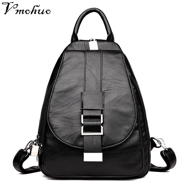 Vmohuo Vintage Back Pack Women Leather Backpacks Chest Sac A Dos Female Designer Brand Backpack For Girls Dayback Ladies Bagpack