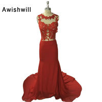 New Evening Gown Long Red Prom Dress Appliques Chiffon See Through Back Sexy Evening Dresses Imported Party Vestidos De Gala