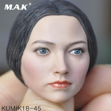 1/6 Scale KUMIK KM18-45 Female Head with Blue Eyes Sculpt Caving for 12'' Action Figure Body exquisite 1 6 scale accessories custom head sculpt carving female kumik 13 10 fit 12phicen cy hot toys woman body action figure